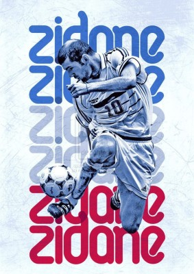 Athah Frameless Poster Zinedine Zidane - Real Madrid Paper Print