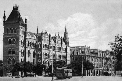 D N Road with tram, Bombay Canvas Art