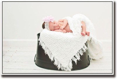 Athah Poster Baby sleeping on black bucket Paper Print (12 inch X 18 inch, Rolled) Paper Print
