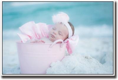 Baby sleeping in pink bucket Fine Art Print
