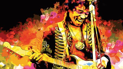 Music Jimi Hendrix Singers United States Guitar Colors Colorful Wall Poster Paper Print