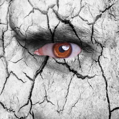 Cracked Earth Surface With Brown Eye Premium Poster Canvas Art