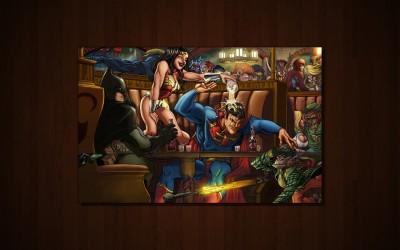 Comics Dc Comics Batman Wonder Woman Superman Fine Art Paper Print Poster Fine Art Print