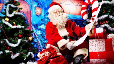 Santa Claus Look Door Gifts List Christmas New Year Poster Paper Print
