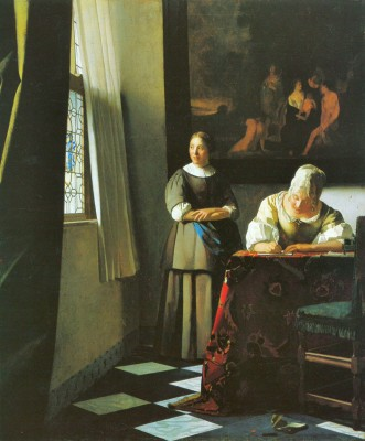 The Museum Outlet Woman with messenger by Vermeer Print - Print (24 x 18 Inch) Canvas Painting