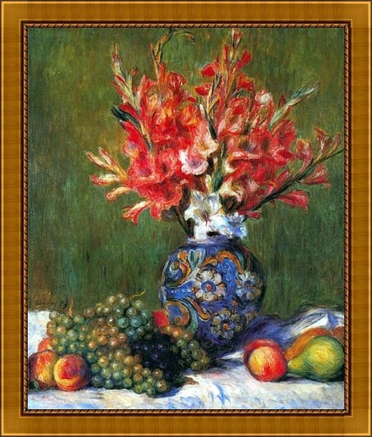 Flowers And Fruit By Renoir - ArtsNyou Printed Paintings Canvas Art class=