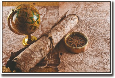 Vintage map globe and compass Fine Art Print
