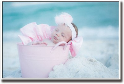 Athah Poster Baby sleeping in pink bucket Paper Print