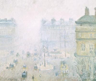 Place du Theatre Francais - Fog Effect, 1897 (Medium) Paper Print