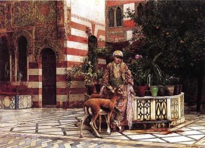 The Museum Outlet - Art Postcard - Weeks Edwin Lord Girl in a Moorish Courtyard Fine Art Print(7 inch X 5 inch, Flat)