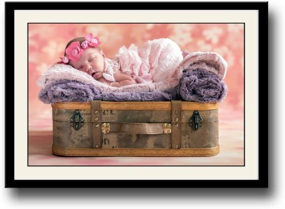 Cute Baby with pink flower hair band Fine Art Print