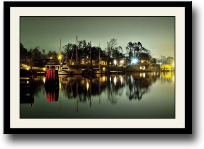 Ships docked night view Fine Art Print