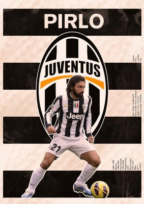 Pirlo Juventus Soccer A3 NON TEARABLE High Quality Printed Poster - Wall Art Print (Size : 11.7 x 16.5) , For Bedroom , Living Room, Kitchen, Office, Room Paper Print