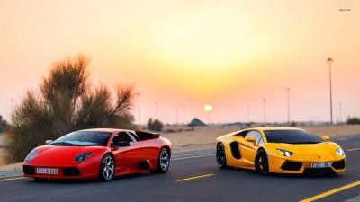 Athah Yellow Lamborghini Aventador & red Lamborghini Murcielago Poster Paper Print