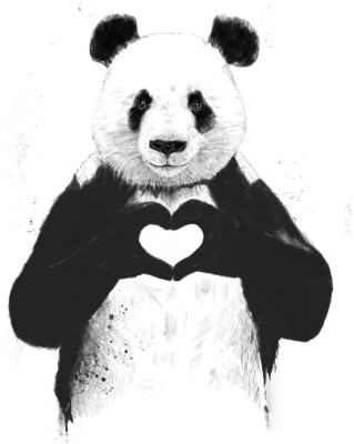 Tallenge - Valentine's Day Gift - Panda in Love - Large Size Ready To Hang Gallery Wrap Canvas Painting