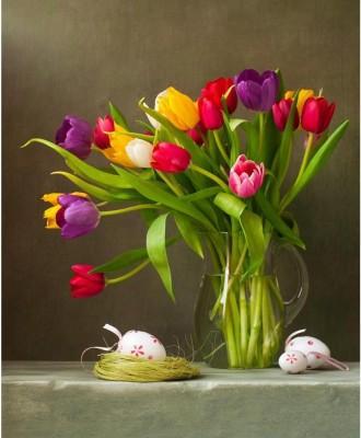 Tulips And Easter Eggs Unframed Art Print Canvas Art