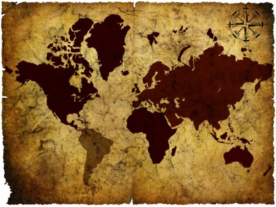 Vintage World Map - 03 Paper Print(18 inch X 24 inch, Rolled)