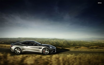 Athah Silver Aston Martin Vanquish side view Poster Paper Print