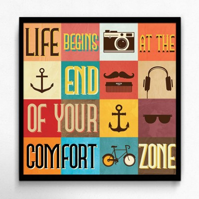 Seven Rays Life Begins at the End of Your Comfort Zone Framed (Small)