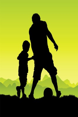 Playing Football Father Son Paper Print