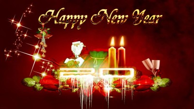 Happy New Year With Santa Claus Poster Paper Print