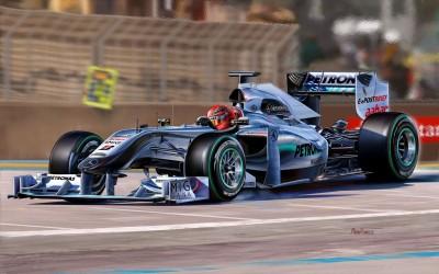 Sports F1 Racing Michal Reinis Car Racing Gp W01 Formula 1 Michael Schumacher HD Wall Poster Paper Print