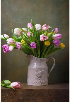 Still Life With Colorful Tulips Premium Poster Paper Print