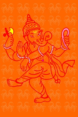 Athah Dancng Ganesha Frameless Poster with Love Sea Horses Paper Print