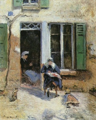 The Museum Outlet Woman and Child Doing Needlework, 1877 (Medium) Canvas Painting