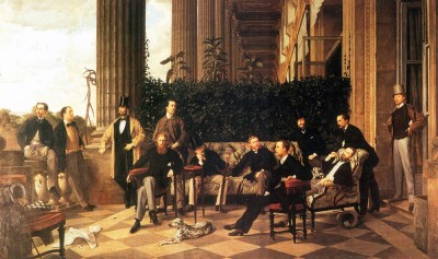 The Museum Outlet The circle of the Rue Royale by Tissot - Print (24 x 18 Inch) Canvas Painting