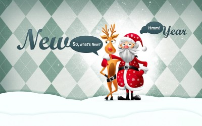 Funny New Year Santa Claus Poster Paper Print