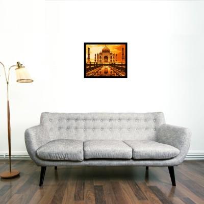 Taj Framed Wall art (Orange) With glass Photographic Paper