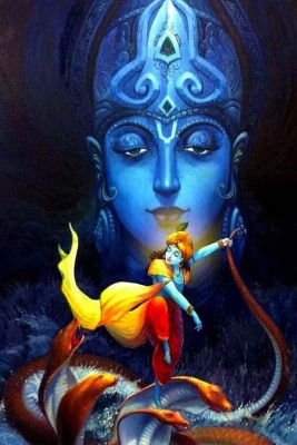 Athah Religious Poster Divine Krishna Blessings Paper Print