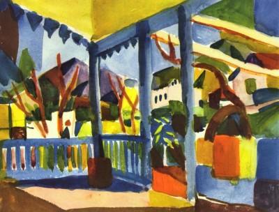 Terrace of the villa in St. Germain by August Macke Print Fine Art Print
