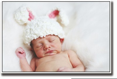 Posterhouzz Baby sleeping with bunny hat Fine Art Print