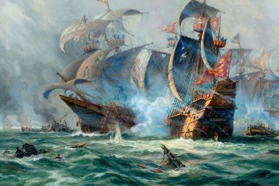Battle Of Pirate Ships On The Ocean Paper Print