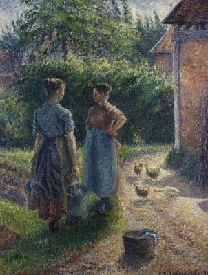 The Museum Outlet Peasants Chatting in the Farmyard, Eragny, 1895-02 (Medium) Canvas Painting