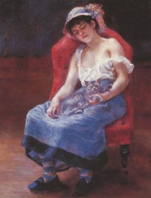A girl asleep by Renoir Paper Print