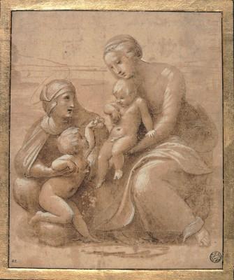 madonna col bambino san giovannino e sant elisabetta by Raffaello Fine Art Print