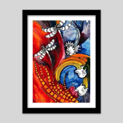 Athah Poster Dragon Flies Glass Paper Paper Print