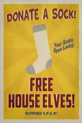 Athah Comic Poster Donate A Sock - Free House Elves Paper Print Rolled Paper Print