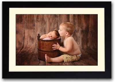 Boy Kissing Cute Newborn Baby Fine Art Print