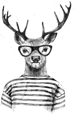 Dressed Up Deer In Hipster Style Premium Poster Canvas Art