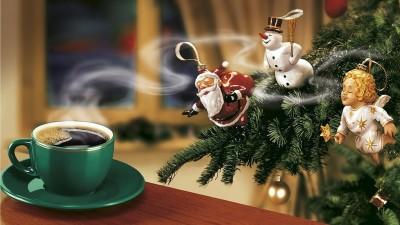 New Year Coffee Christmas Tree Santa Claus Snowman Angel Poster Paper Print