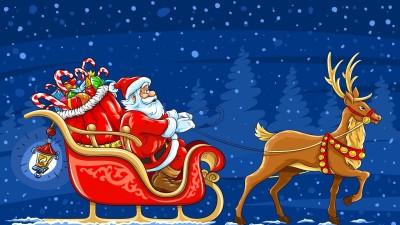 New Year Christmas Santa Claus Sleigh Reindeer Giftspostcard Poster Paper Print