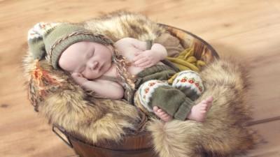 Cute Baby Sleeping In Bucket Poster Paper Print