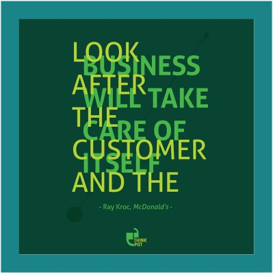 Look after the customer - Ray Kroc, McDonalds Blue Square Frame Photographic Paper
