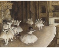 Tallenge Modern Masters Collection - Ballet Rehearsal on Stage by Edgar Degas - Small Size Ready To Hang Gallery Wrap Canvas Painting