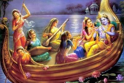 Divine Krishna Blessings Paper Print