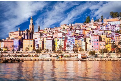 Provence Village Menton Scenic View Unframed Art Print Canvas Art